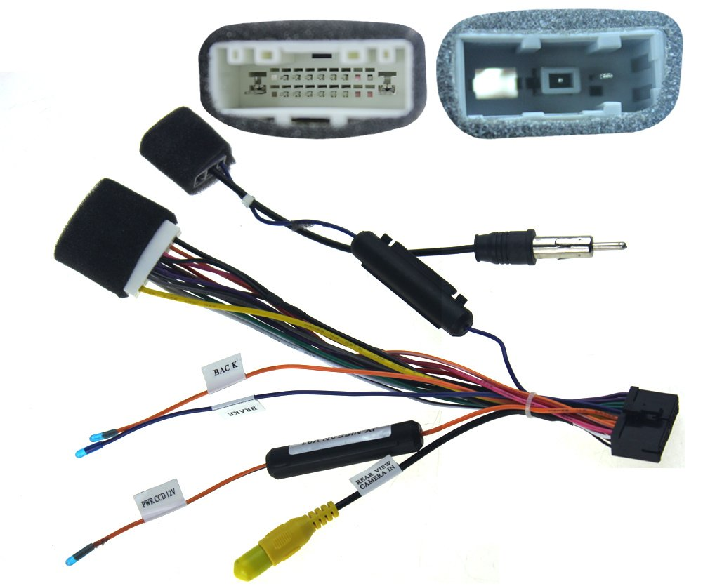 61Hr5CY3ZqL._SL1001_ amazon com joying jy c nissan2 wiring harness cable for nissan Car Stereo Wiring Colors at bakdesigns.co