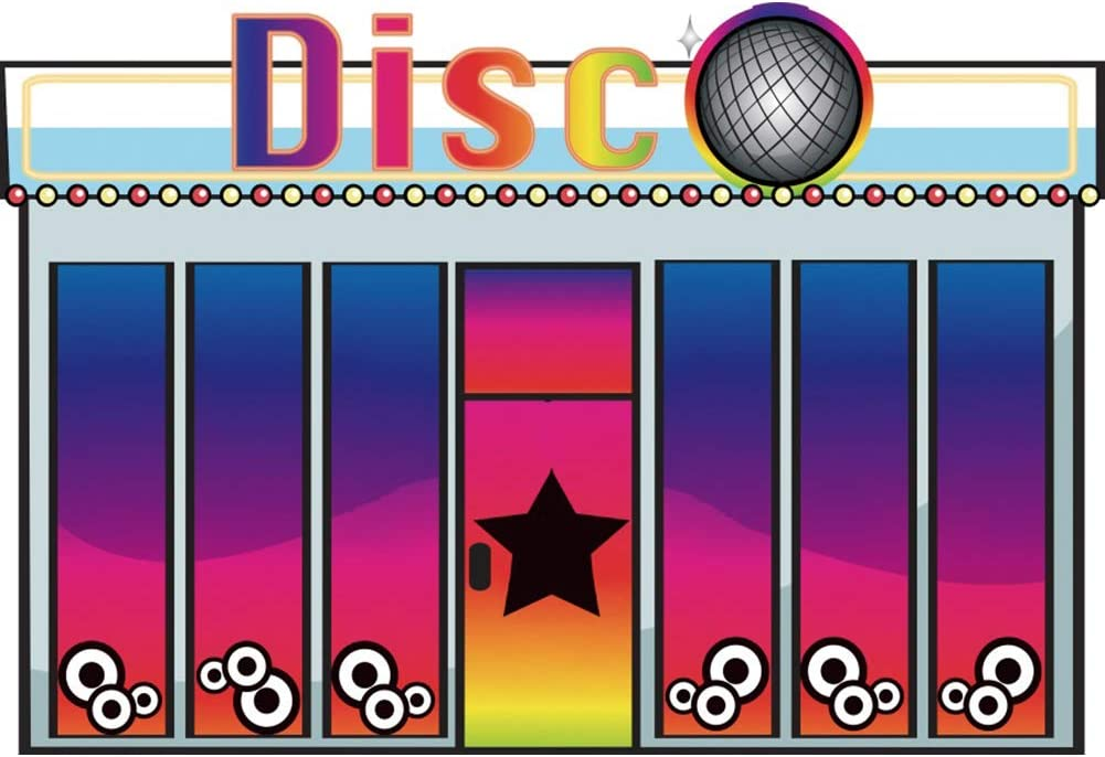 YEELE 12x8ft Cartoon Disco Night Club Backdrop Kids Birthday Party Photography Background Cake Smash Party Table Decor Prek Kids Acting Show Photo Booth Props Digital Wallpaper