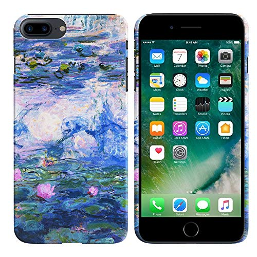 (FINCIBO Case Compatible with Apple iPhone 7 Plus 2016 / iPhone 8 Plus 2017 5.5 inch, Back Cover Hard Plastic Protector Case for iPhone 7 Plus / 8 Plus (NOT FIT iPhone 7/8) - Claude Monet Water Lilies)