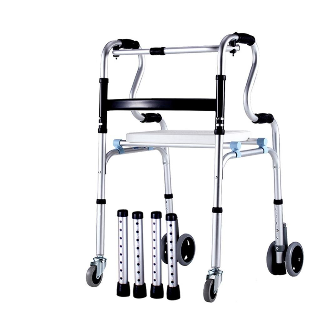 LUCKYYAN Drive Healthcare YC8301 Aluminum alloy Folding Walking Frame with 4 Wheels and Seat, Rear tyre brakes , b