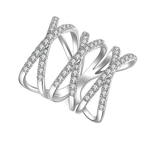 (compromiso anillos) Adisaer plateado anillos para las mujeres boda bandas cruzados circonita