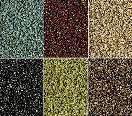 (Miyuki Delica Seed Beads Bundle: Size 11/0, 6 Picasso Colors - 6 Tubes of 7.2 Grams ea DB2261, DB2262, DB2263, DB2264, DB2265 & DB2267)