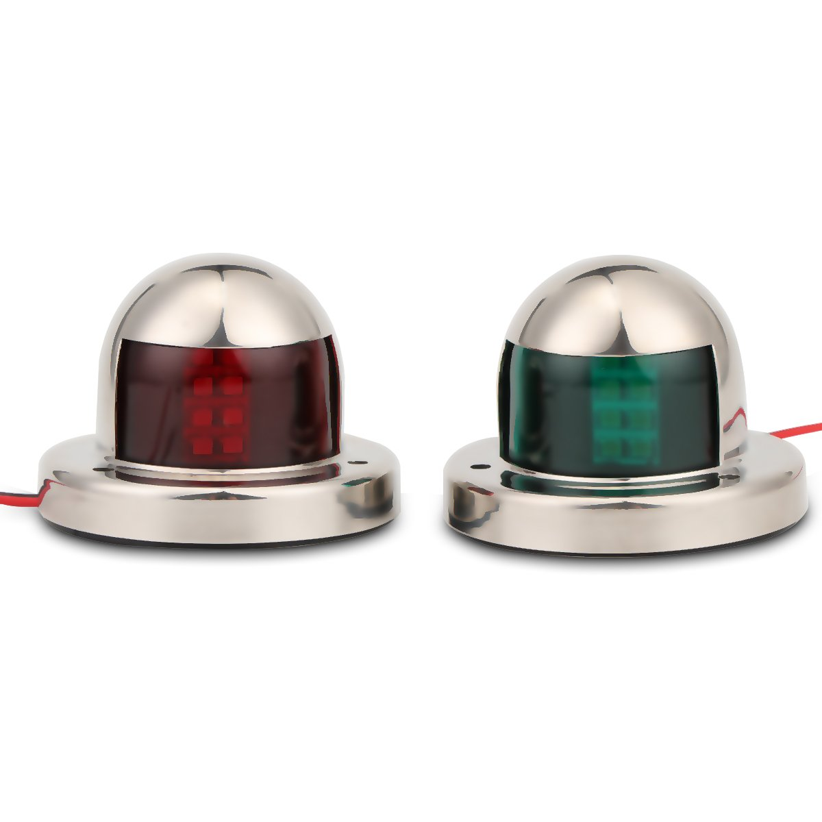 Powstro One Pair Red & Green Marine Boat Yacht Light LED Bow Navigation Side Lights 12V Stainless Steel
