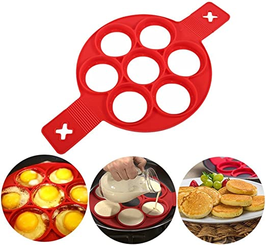 Amazon.com: 2020 New Upgrade Pancake Molds Ring Fried Egg Mold Reusable  Silicone Non Stick Pancake Maker Egg Ring Quickly Make a Cake for You to  Save Valuable Time(Red): Kitchen & Dining