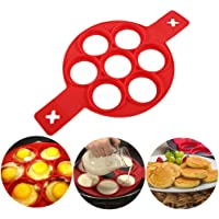 2020 New Upgrade Pancake Molds Ring Fried Egg Mold Reusable Silicone Non Stick Pancake Maker Egg Ring Quickly Make a Cake for You to Save Valuable Time(Red)