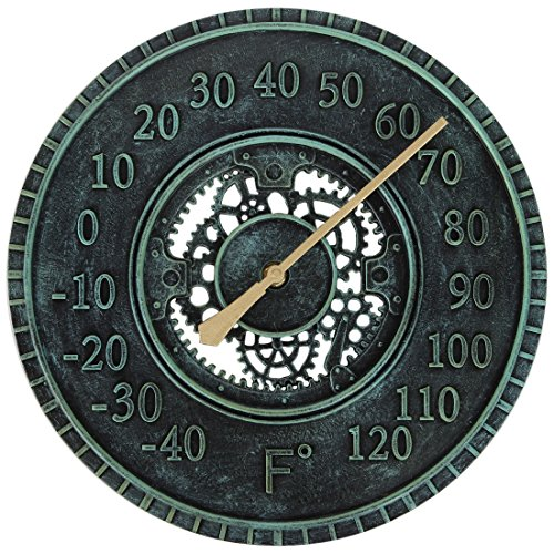 Lily's Home Hanging Wall Thermometer, Steampunk Gear and Cog Design with a Pewter Finish, Ideal for Indoor or Outdoor Use, Poly-Resin (12 Inches Diameter) (Thermometer Garden Clock)