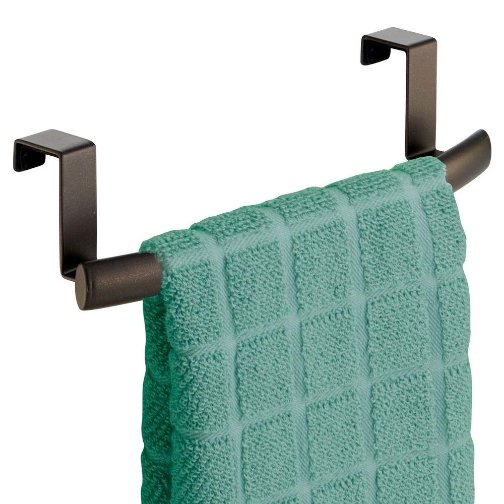 """mDesign Modern Metal Kitchen Storage Over Cabinet Curved Towel Bar - Hang on Inside or Outside of Doors, Organize and Hang Hand, Dish, and Tea Towels - 9.7"""" Wide - Bronze"""
