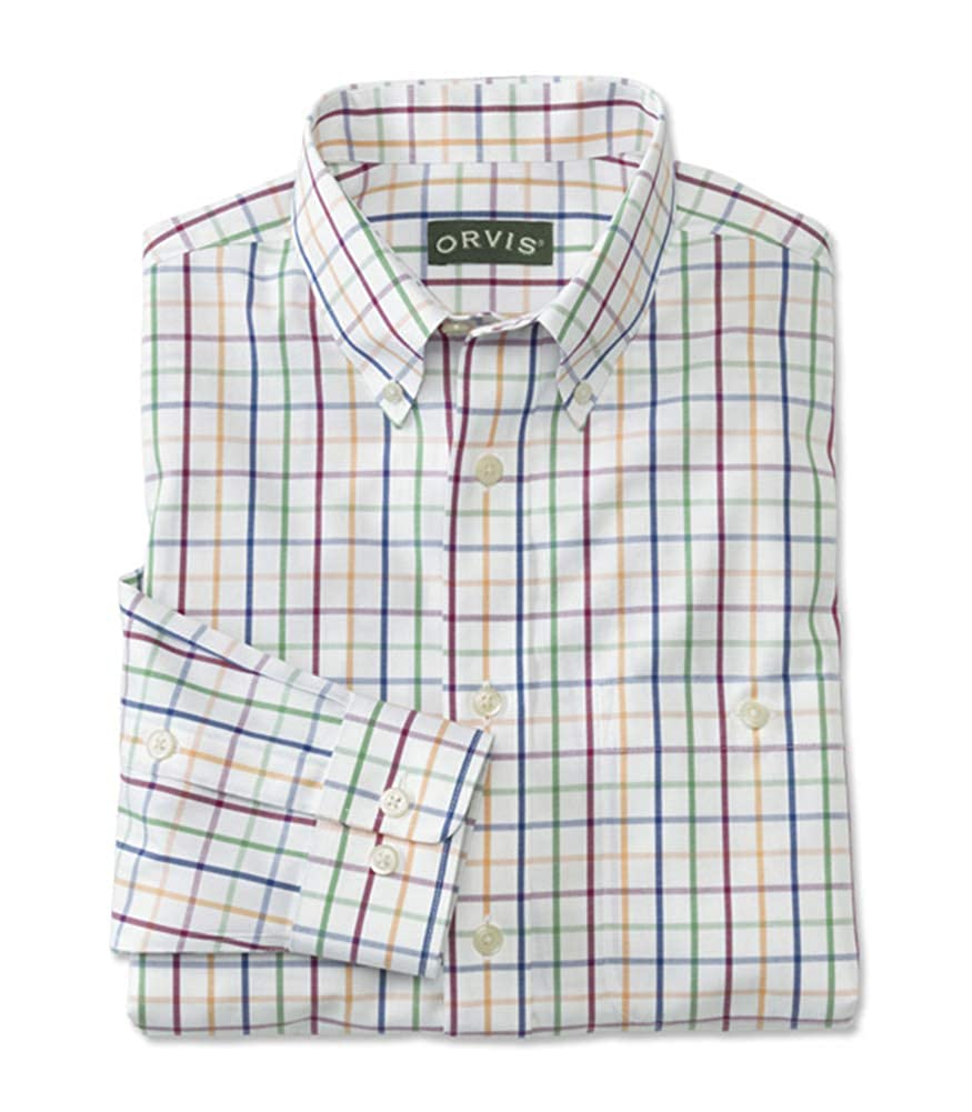 Orvis Mens Pure Cotton Wrinkle-Free Pinpoint Oxford Shirt//Tall