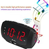 """DreamSky Digital Alarm Clock Radio With Dual USB Ports For Phone Charging , FM Radio With Earphone Jack, 1.4"""" LED Display With Dimmer , Snooze, Adjustable Volume, Sleep Timer, Outlet Powered"""