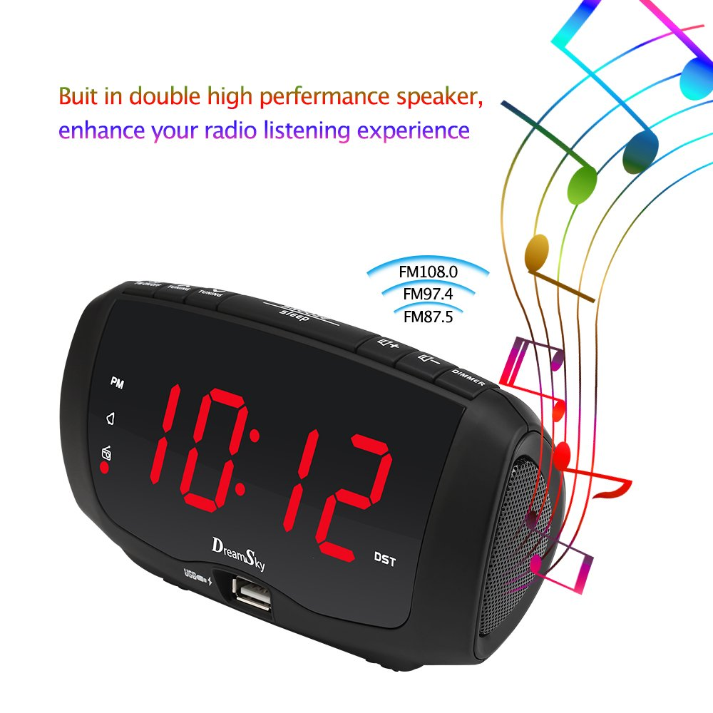 DreamSky Digital Alarm Clock Radio with Dual USB Ports for Phone Charging, FM Radio with Earphone Jack, 1.4'' LED Display with Dimmer, Snooze, Adjustable Volume, Sleep Timer, Outlet Powered