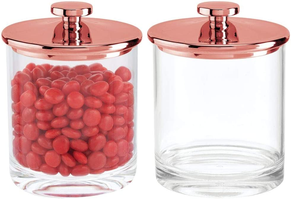mDesign Modern Round Kitchen Countertop Storage Organizer Canister Jar for Sugar, Flour, Tea, Coffee, Spices, Candy, and Beans, 2 Pack - Clear/Rose Gold
