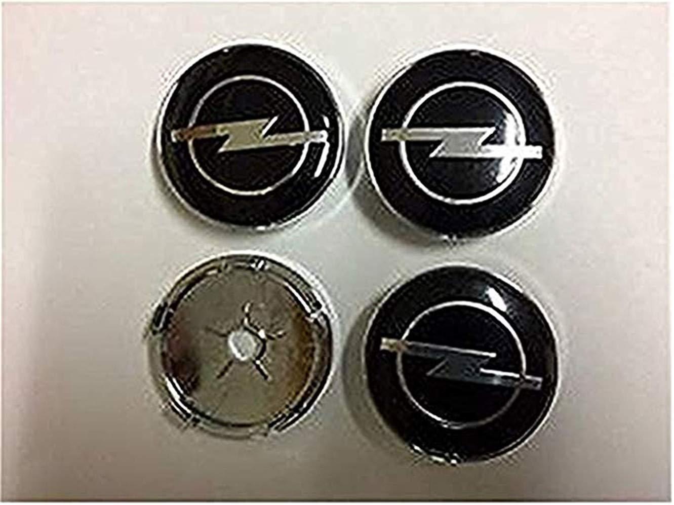 fanlinxin Vauxhall Opel Ruota in Lega Center Set di 4 Spine, Badge Coprimozzo Nero 60 mm Badge Coprimozzo Nero 60mm