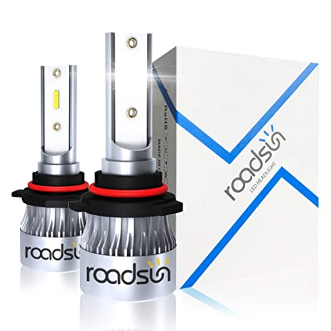 Roadsun Hb3 9005 Led Headlight Bulbs Conversion Kit Extremely Bright Csp Chips All In One Led Headlights Fog Light Bulb 10000lm 60w 6000k Cool
