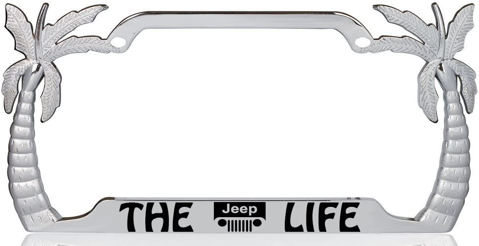 The Jeep Life Palm Tree Design Chrome Metal Auto License Plate Frame Car Tag Holder with car Banner Flag