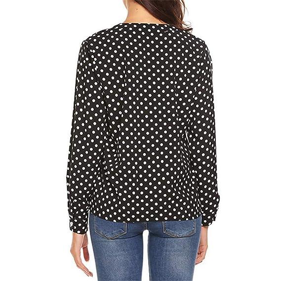 ZODOF Camisa Mujer Mujer Suelto Polka Dot Camisetas Sudaderas Blusa Pullover Casual Tops Botón con Cuello en V y Estampado Trabajo de Oficina de la Mujer ...