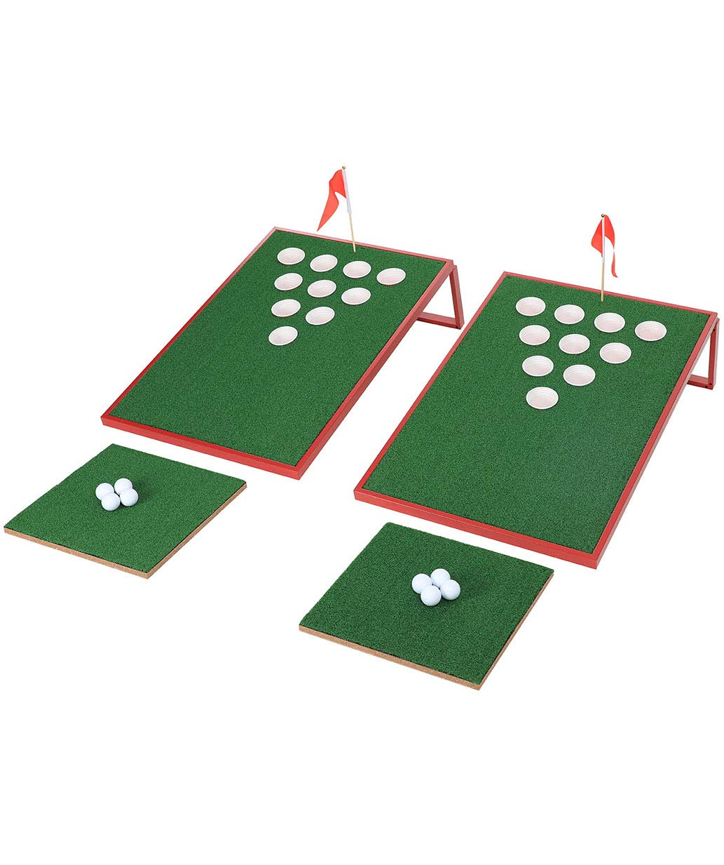 SPRAWL Portable Golf Beer Pong Game Set with 2 Chipping Boards, 2 Chipping Mats, 8 Golf Balls Cornhole Sets Tailgate Backyard Beach Office Games
