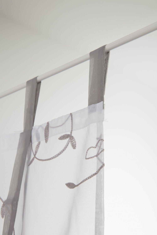 RideauDiscount Paire Voilages Vitrages 60 x 160 cm Store Enrouleur à Pattes avec Broderies Blanc/Gris Clair