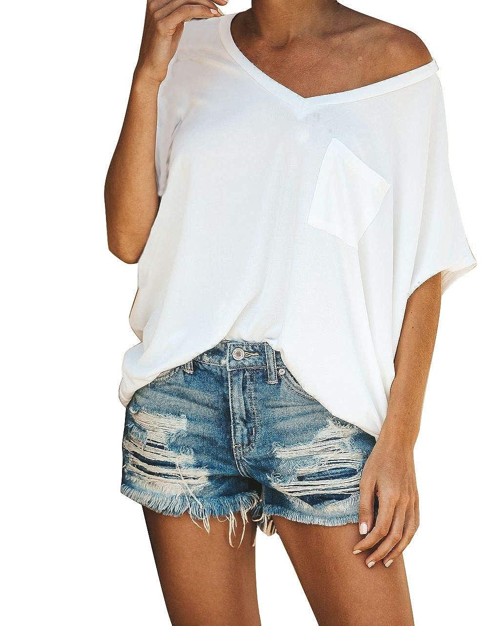 Slowly Damen Casual V-Ausschnitt Kurzarm T-Shirt Tasche Rundhals Top T Shirt Bluse Tops Mit Tasche