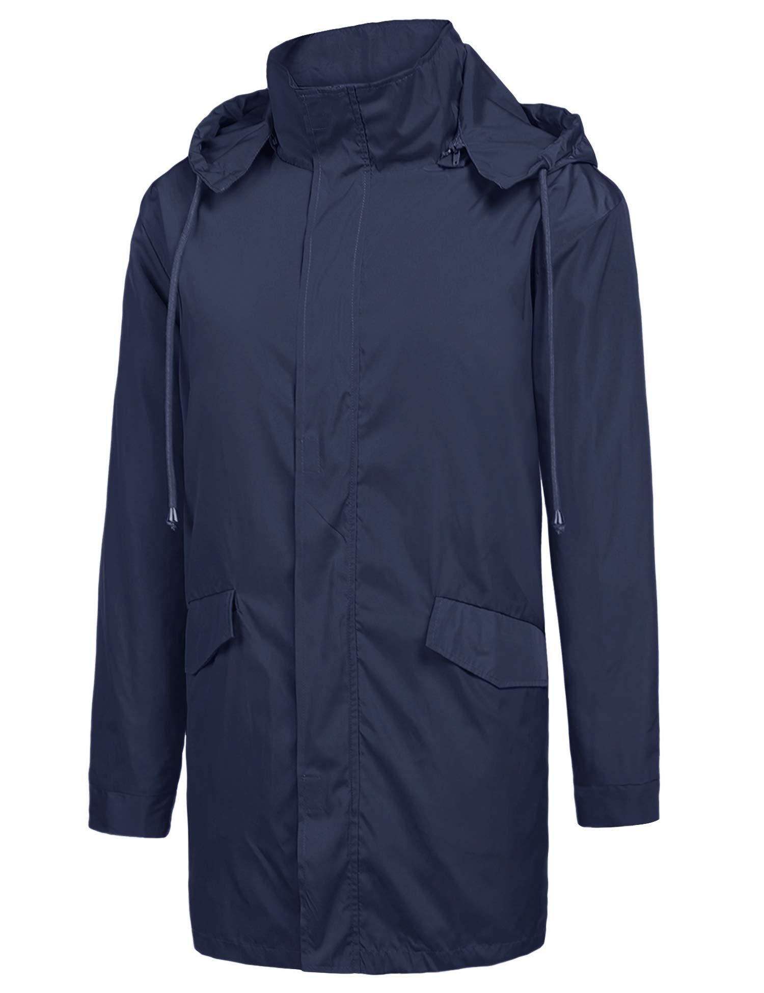 ZEGOLO Men's Raincoats Waterproof Windbreaker Lightweight Active Outdoor Full Zip Hooded Long Rain Jacket Trench Coats Navy Blue X-Large by ZEGOLO