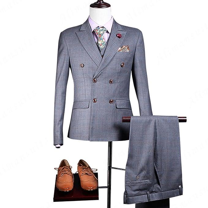 Amazon.com: maxudrs 2018 3 traje ropa de hombre gris trajes ...