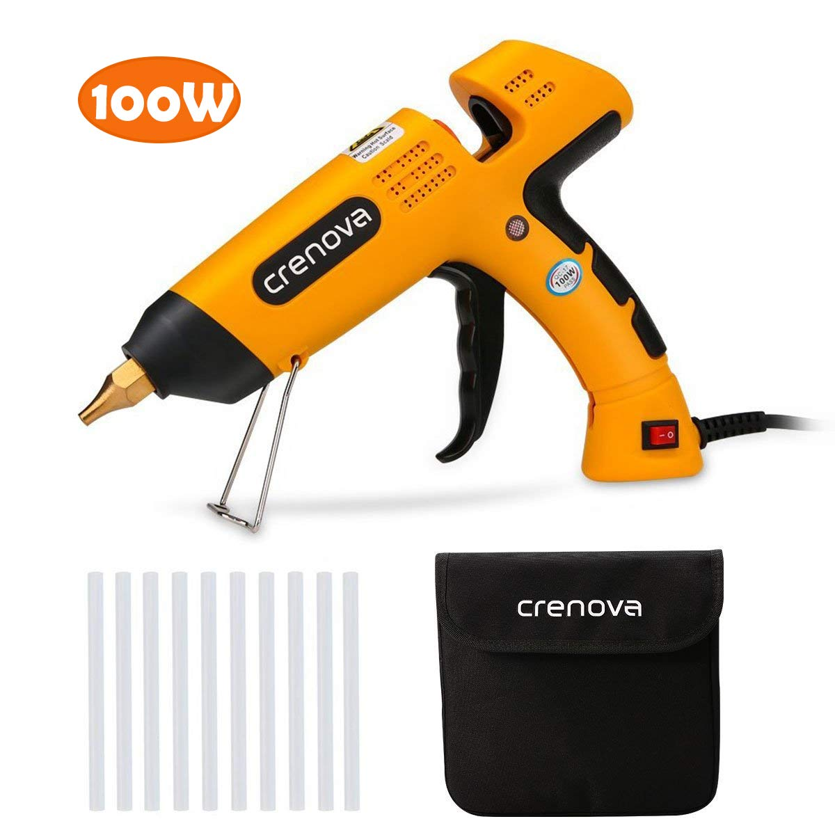 Glue Gun , Crenova 100 Watt Temperature Hot Melt Glue Gun with 10 PCS Transparent Glue Gun Sticks for DIY Arts & Crafts, & Sealing and Quick Repairs,Yellow