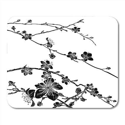 Amazon Com Emvency Mouse Pads Black Peach Cherry Blossom Flowers