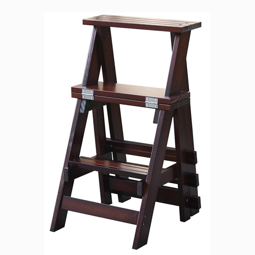A Yxsd 3-Step Folding Step Stool Wooden Ladder-Home  Indoor Staircase Chair  Dual-use Climb Stool, Kitchen Ladders Small Foot Stools for Adults Kids,Portable Flower Rack shoes Bench Storage Shelf