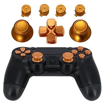 XFUNY Thumbsticks Thumb Grip and Chrome D-pad for Sony PS4 DualShock 4 Controller Mod Kit Metal Bullet Buttons ABXY Buttons TM Gold