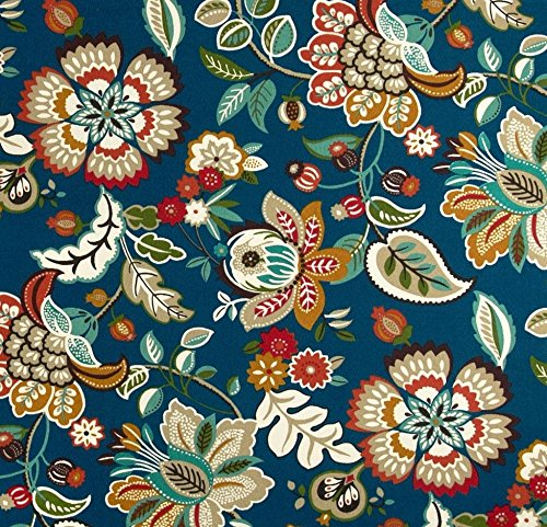 Floral Upholstery - Indoor / Outdoor Fabric by the Yard - Richloom Solar Outdoor Telfair Peacock - Blue, Red, Coral, Tan, Teal Floral