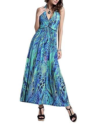 5d9a1a11ee9a ZiXing Elegant Damen Bunt Tuch Kleid V Ausschnitt Drucken Tuchkleid  Strandkleid Maxikleid Partykleid Grün  Amazon.de  Bekleidung