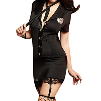 Petalum Damen Polizistin Verkleiden Kostüm Hut Handschellen Spitzen ...