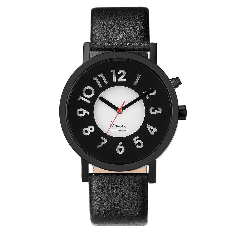 Projekte 6006B Herren Edelstahl schwarz Leder Band Schwarz-Weiß Zifferblatt Smart Watch