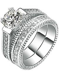 2 PCS 18K White Gold Princess Cut CZ Bridal Set Ring Eternity Engagement Wedding Band