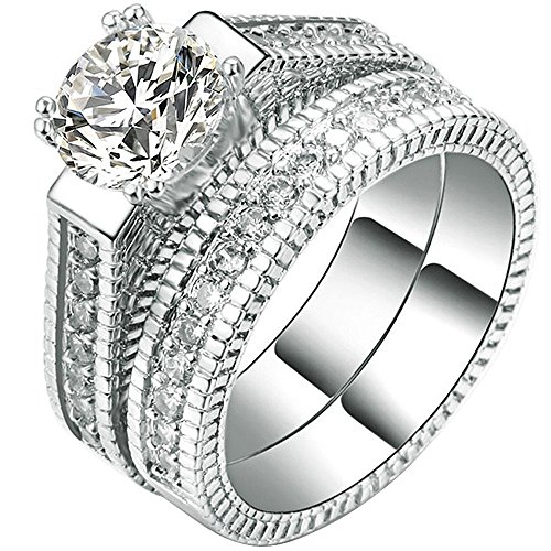 Women 2 PCS 18K White Gold Plated Princess Cut Solitaire CZ Anniversary Promise Ring Engagement Wedding Band Set 12