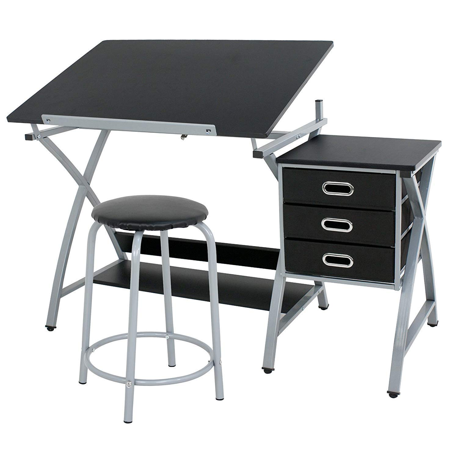 HomGarde MDF Drawing Drafting Table Art & Craft Drafting Desk Hobby Folding Adjustable Craft Table Station w/Stool and 3 Storage Drawers