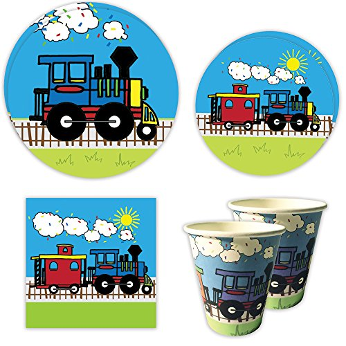 Blue Orchards Train Standard Party Packs (65+ Pieces for 16 Guests!), 1st Birthday Tableware, Baby Shower Supplies, Train-Themed Birthday (Party City First Birthday)