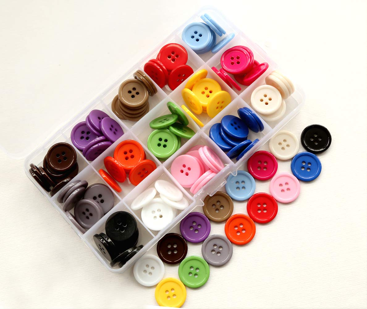 Sewing Flatback Buttons Colored Black Pack of 80 Pcs GANSSIA 13//16 20mm