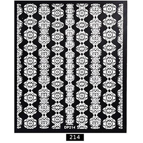 ❤JPJ(TM)❤️ Stickers for Nail Art Design,Nail Art Stickers,1 Sheet Embossed 3D Nail Art Stickers Blooming Flower Decals Tips DIY Best Decoration For Your Nails (Halloween Black N White Nails)
