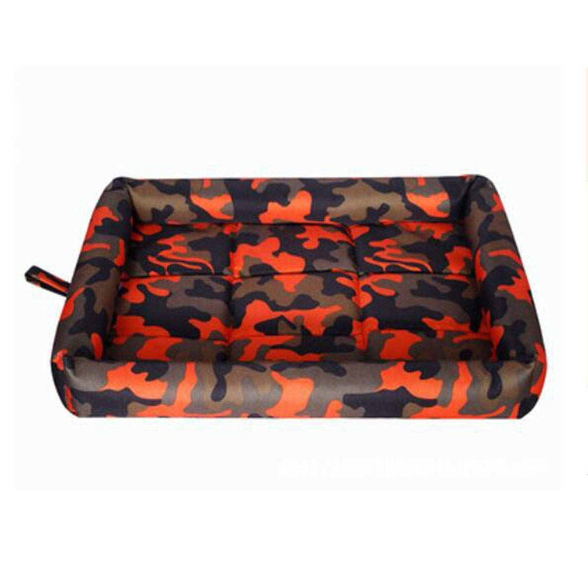 Camouflage orange L Dog Bed, Spring Large and Medium Dog Orthopedic Sleeping Bed, Can Be Placed On The Floor Car Dog Cage, Camouflage bluee, Camouflage orange, Camouflage Red XXL (color   Camouflage bluee, Size   XL)