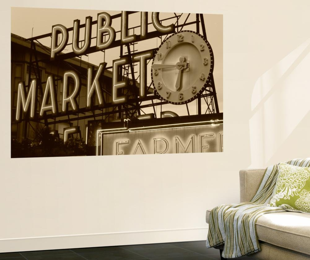 View of Public Market Neon Sign and Pike Place Market, Seattle, Washington, USA Wall Mural by Walter Bibikow 48 x 72in by DANITA DELIMONT POD