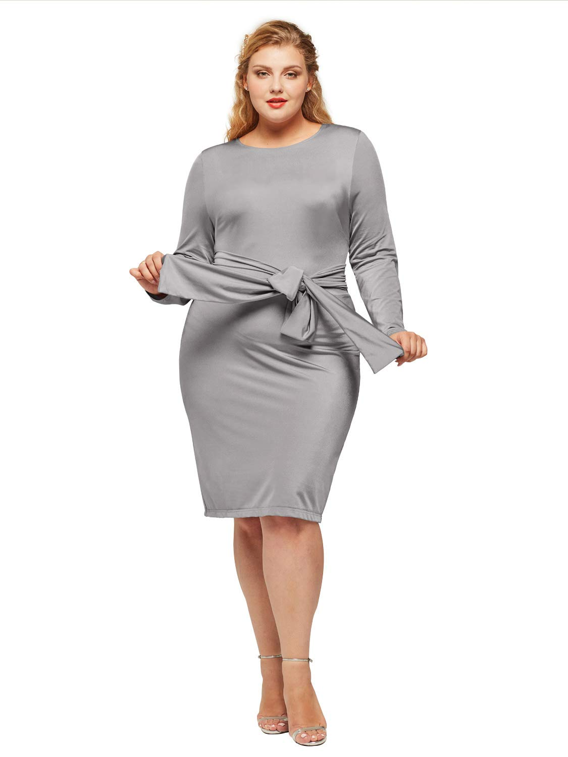Alicepub Women\'s Scoop Neck Plus Size Dress Long Sleeve Sheath Casual Work  Party Dresses, Platinum, US16