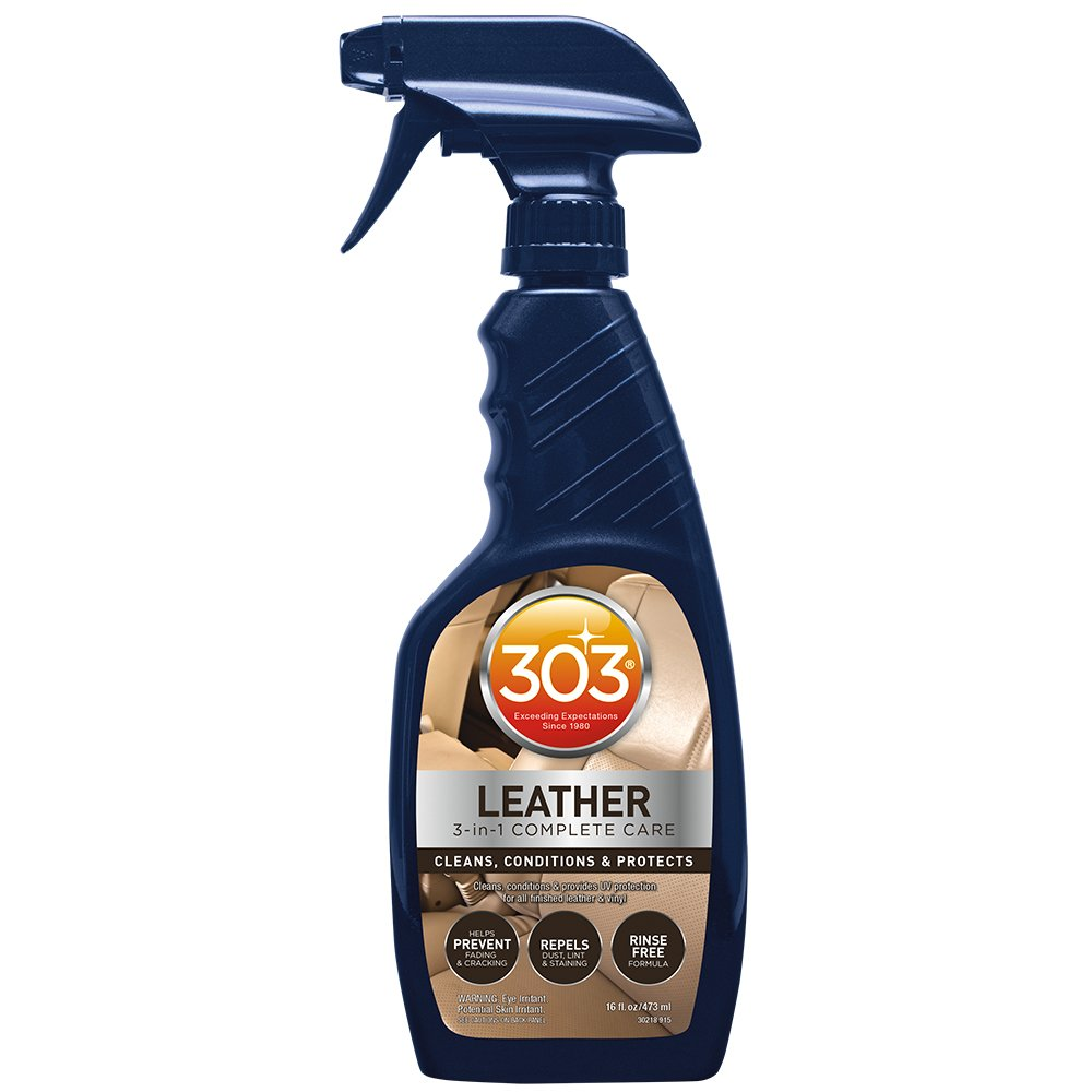 303 Leather Cleaner and Conditioner - UV Protectant- Cleans, Conditions, and Restores Leather and Vinyl Luggage, Handbags, Shoes, Furniture and more, 16 fl. oz., (Pack of 6)