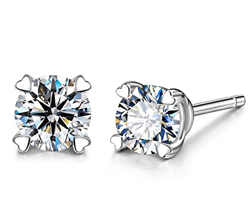 71198abc2 Amazon.com: Round Cubic Zirconia Stud Earrings for Women Girls 4 Prong  Brilliance Silver CZ Ear Studs: Jewelry