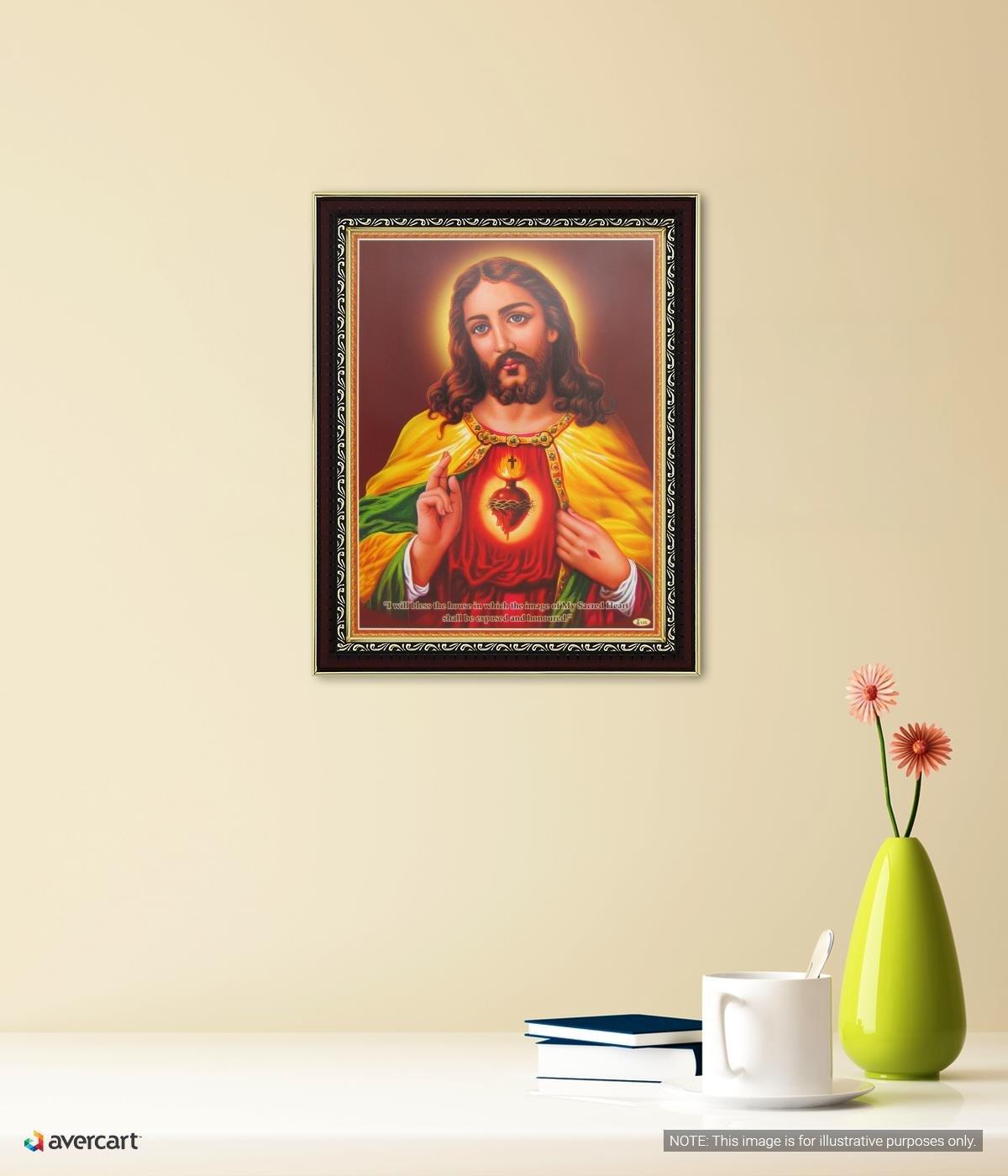 Sagrado Corazón de Jesús Póster con Marco (Tamaño: 22 x 28 cm ...