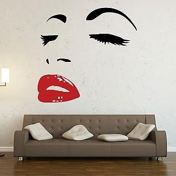 cheap sticker mural visage de femme en deux couleurs couleur noir et rouge taille x with. Black Bedroom Furniture Sets. Home Design Ideas