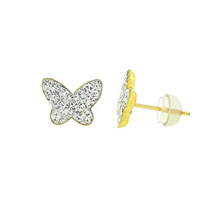 6b7571a8fffd2 14k Yellow Gold and Copper Butterfly Stud Earrings with Swarovski Element  Crystals, Choice of Colors