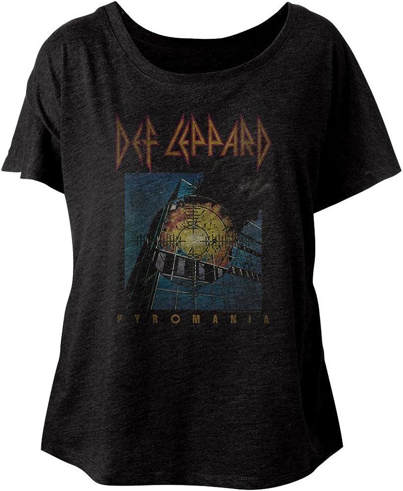 Def Leppard 80s Heavy Metal Band RocknRoll Pyromania Ladies Slouchy T-Shirt Tee
