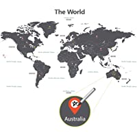 DECOWALL DLT-1609G Modern Grey World Map Kids Wall Stickers Wall Decals Peel and Stick Removable Wall Stickers for Kids…