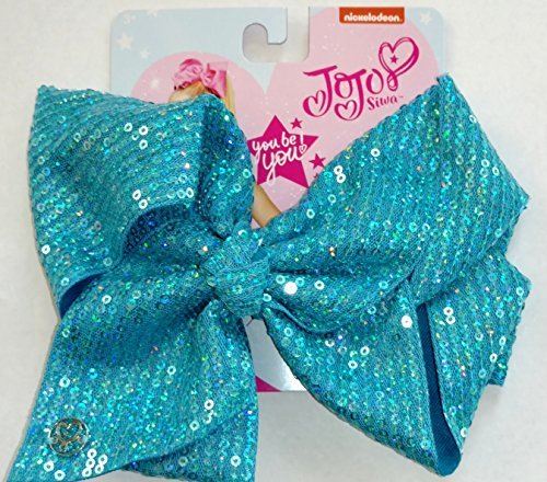JoJo Siwa Large Signature Tiffany Blue Sequin Hair Bow Dance Hair Bow Cheerleader Bow by JOJO Siwa
