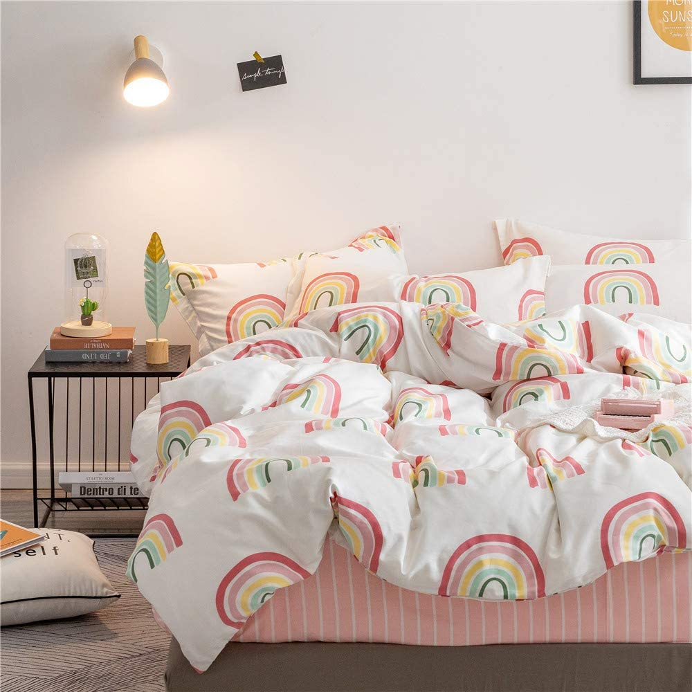 Homewish Rainbow Background Bedspread Water Drop Decor Coverlet Set 2pcs for Kids Girls Teens Microfiber Quilted Coverlet Soft Polyester Quilt Set 1 Bedspread + 1 Pillow Case Twin Size